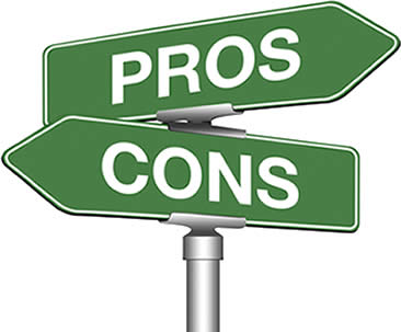 image of street sign: pro and con